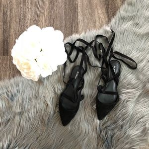BCBG LACE UP FLATS